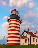 Lubec, Maine: West Quoddy Head Light with morning clouds