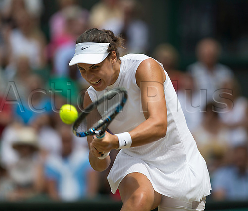 July 10th 2017, All England Lawn Tennis and Croquet Club, London, England; The Wimbledon Tennis Championships, Day 7; Ana Konjuh (CRO) hits a backhand return to Venus Williams (USA)