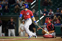 Buffalo Bisons first baseman Jason Leblebijian (9) flies out during a game against the Rochester Red Wings on August 25, 2017 at Frontier Field in Rochester, New York.  Buffalo defeated Rochester 2-1 in eleven innings.  (Mike Janes/Four Seam Images)