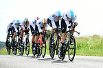 Team Sky in full flight during Stage 3 of the 2018 Criterium du Dauphine 2018 a Team Time Trial running 35km from Pont de Vaux to Louhans Chateaurenaud, France. 6th June 2018.<br /> Picture: ASO/Alex Broadway | Cyclefile<br /> <br /> <br /> All photos usage must carry mandatory copyright credit (&copy; Cyclefile | ASO/Alex Broadway)