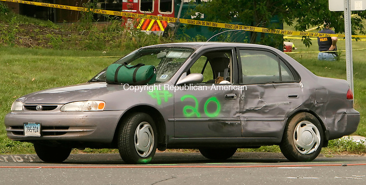 AVON, CT- 29 JULY 2005-072905JS06---A vehicle spray painted with the number 20 was one of the vehicles involved in a multi-vehicle accident on Route 44 and Route 10 in Avon on Friday. A total of 20 vehicles were involved and four people were confirmed dead. -- Jim Shannon Photo--are CQ