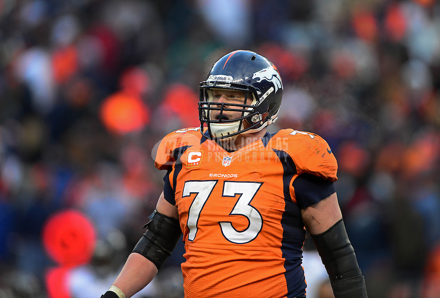 Jan 12, 2013; Denver, CO, USA; Denver Broncos guard Chris Kuper against the Baltimore Ravens during the AFC divisional round playoff game at Sports Authority Field.  Mandatory Credit: Mark J. Rebilas-