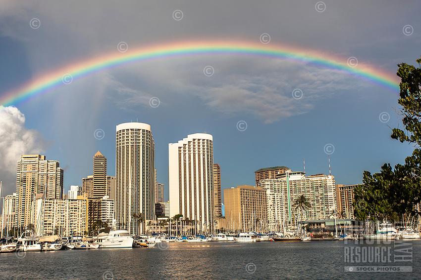 A rainbow over Waikiki at Ala Wai Harbor, Honolulu, O'ahu.
