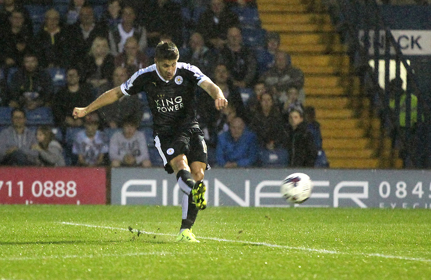 Leicester City's Andrej Kramaric scores his sides second goal <br /><br />Photographer Mick Walker/CameraSport<br /><br />Football - Capital One Cup Second Round - Bury v Leicester City - Tuesday 25 August 2015 - Gigg Lane - Bury<br /> <br />&copy; CameraSport - 43 Linden Ave. Countesthorpe. Leicester. England. LE8 5PG - Tel: +44 (0) 116 277 4147 - admin@camerasport.com - www.camerasport.com