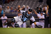 Hudson Valley Renegades catcher Erik Ostberg (21) tracks down a loose ball during a game against the Connecticut Tigers on August 20, 2018 at Dodd Stadium in Norwich, Connecticut.  Hudson Valley defeated Connecticut 3-1.  (Mike Janes/Four Seam Images)
