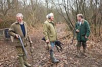 A winter morning's rough shooting in Kent, England, has produced only three pheasants but the sportsmen - and indeed their dogs - still seem pleased with their work.