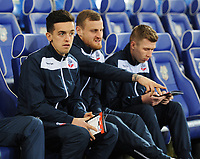 Bolton Wanderers' Zach Clough (left), David Wheater and Josh Vela<br /> <br /> Photographer Kevin Barnes/CameraSport<br /> <br /> The EFL Sky Bet Championship - Cardiff City v Bolton Wanderers - Tuesday 13th February 2018 - Cardiff City Stadium - Cardiff<br /> <br /> World Copyright &copy; 2018 CameraSport. All rights reserved. 43 Linden Ave. Countesthorpe. Leicester. England. LE8 5PG - Tel: +44 (0) 116 277 4147 - admin@camerasport.com - www.camerasport.com