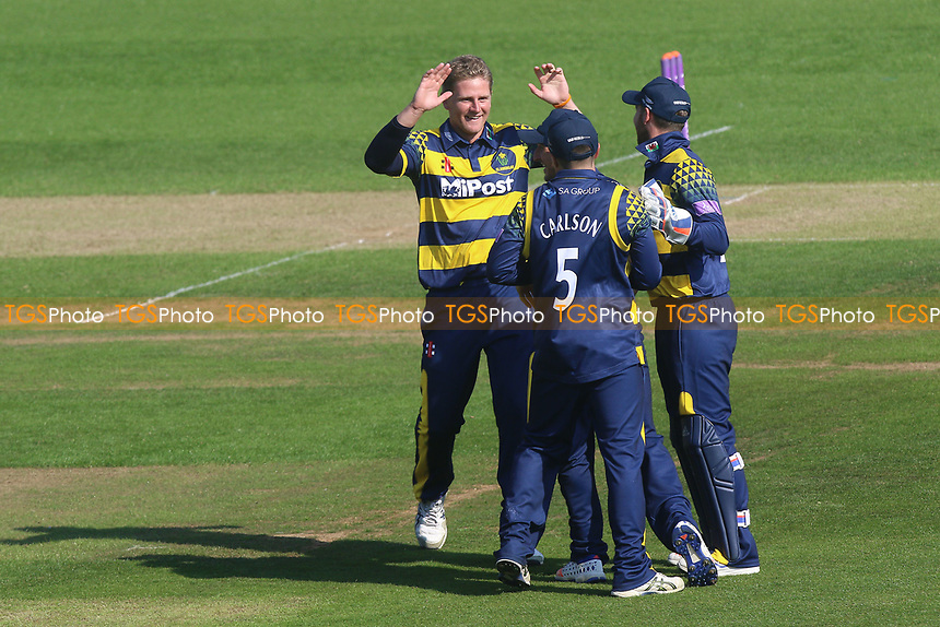 Timm van der Gugten celebrates taking the wicket of Alastair Cook during Glamorgan vs Essex Eagles, Royal London One-Day Cup Cricket at the SSE SWALEC Stadium on 7th May 2017