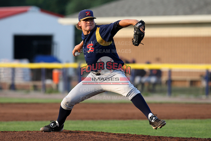 State College Spikes pitcher Stetson Allie #48 during a game against the Batavia Muckdogs at Dwyer Stadium on July 6, 2011 in Batavia, New York.  Batavia defeated State College 2-1.  (Mike Janes/Four Seam Images)