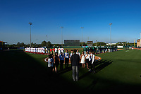 National anthem presentation before the inaugural Florida Fire Frogs game against the Daytona Tortugas on April 6, 2017 at Osceola County Stadium in Kissimmee, Florida.  Daytona defeated Florida 3-1.  (Mike Janes/Four Seam Images)