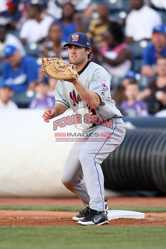Binghamton Mets First Baseman Nick Evans (24) during a game vs. the Akron Aeros at Eastwood Field in Akron, Ohio;  June 25, 2010.   Binghamton defeated Akron 5-3.  Photo By Mike Janes/Four Seam Images