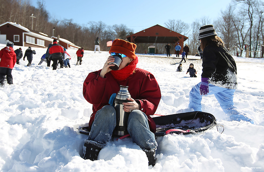 Maria Sheppard of Portsmouth enjoys a hot beverage at Stratham Hill Park in Stratham, N.H., Sunday, Feb. 10, 2013.  (Portsmouth Herald Photo Cheryl Senter)