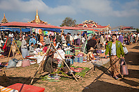 "Myanmar, Burma.  Local ""Five-Day"" Market, Inle Lake, Shan State."