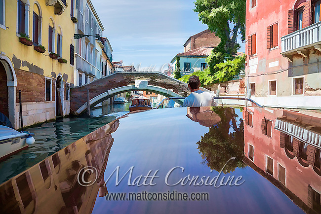 On the iconic Riva motor boat traveling down a canal in Venice. Painted effect.(Photo by Travel Photographer Matt Considine)