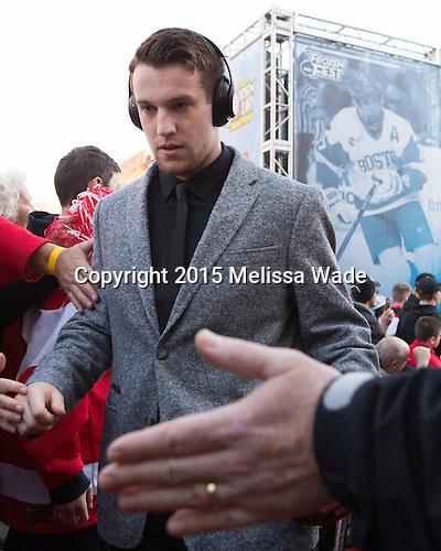 Matt Grzelcyk (BU - 5) - The teams walked the red carpet through the Fan Fest outside TD Garden prior to the Frozen Four final on Saturday, April 11, 2015, in Boston, Massachusetts.