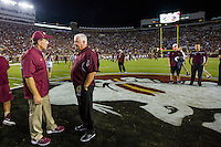 TALLAHASSEE, FLA. 9/5/15-Florida State University Head Coach Jimbo Fisher, left, talks with Texas State University Head Coach Dennis Franchione prior to the football game at Doak Campbell Stadium in Tallahassee.<br /> <br /> COLIN HACKLEY PHOTO