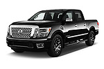 2018 Nissan Titan Platinum-Reserve-Crew 4 Door Pickup Angular Front stock photos of front three quarter view