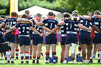 A general view of Bristol Rugby players huddled together after the match. Pre-season friendly match, between Bristol Rugby and Bath Rugby on August 12, 2017 at the Cribbs Causeway Ground in Bristol, England. Photo by: Patrick Khachfe / Onside Images