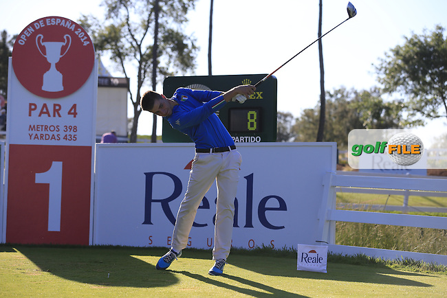 Guido Migliozzi (AM)(ITA) tees off the 1st tee during Friday's Round 2 of the 2014 Open de Espana held at the PGA Catalunya Resort, Girona, Spain. Wednesday 16th May 2014.<br /> Picture: Eoin Clarke www.golffile.ie