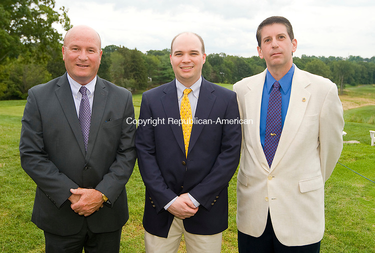 WATERBURY, CT-0712817JS09--Joseph A. Geary, Chief of Staff for Waterbury Mayor Neil M. O'Leary, left, with Christopher O'Brien and Rick Zappone at the Waterbury Lions Club's annual Installation Dinner at the Waterbury Country Club. <br /> Jim Shannon Republican-American