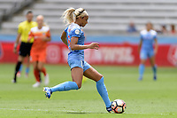 Houston, TX - Saturday April 15, 2017: Samantha Johnson brings the ball up the field during a regular season National Women's Soccer League (NWSL) match won by the Houston Dash 2-0 over the Chicago Red Stars at BBVA Compass Stadium.