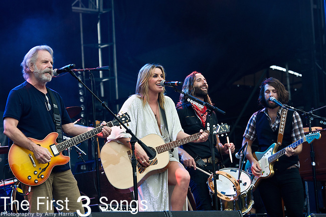 Grace Potter, Scott Tournet, and Matthew Burr of Grace Potter and the Nocturnals performs with Bob Weir during the All Good Music Festival at Legend Valley in Thornville, Ohio.