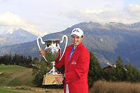 Matthew Fitzpatrick (ENG) wins the 2018 Omega European Masters, after a playoff held at the Golf Club Crans-Sur-Sierre, Crans Montana, Switzerland. 9th September 2018.<br /> Picture: Eoin Clarke | Golffile<br /> <br /> <br /> All photos usage must carry mandatory copyright credit (&copy; Golffile | Eoin Clarke)