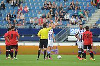 VOETBAL: HEERENVEEN: Abe Lenstra Stadion 01-08-2015, SC Heerenveen - Real Mallorca, uitslag 0-1, Kenneth Otigba(rechts) kreeg in het oefenduel tegen Real Mallorca twee maal geel en werd vlak na rust van het veld gestuurd door scheidsrechter Higler, Henk Veerman spreekt de scheidsrechter er op aan,©foto Martin de Jong