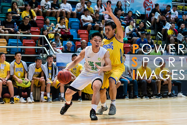 Tsoi Hung Hing #32 of Tycoon Basketball Team goes to the basket against the Winling during the Hong Kong Basketball League playoff game between Tycoon and Winling at Queen Elizabeth Stadium on July 27, 2018 in Hong Kong. Photo by Yu Chun Christopher Wong / Power Sport Images