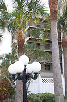 Condominiums and palm trees lining Florida's Gulf Coast.  Indian Shores Tampa Bay Area Florida USA