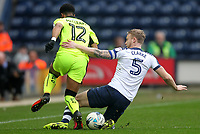 Preston North End's Tom Clarke tackles Reading's Garath McCleary<br /> <br /> Photographer Mick Walker/CameraSport<br /> <br /> The EFL Sky Bet Championship - Preston North End v Reading - Saturday 11th March 2017 - Deepdale - Preston<br /> <br /> World Copyright &copy; 2017 CameraSport. All rights reserved. 43 Linden Ave. Countesthorpe. Leicester. England. LE8 5PG - Tel: +44 (0) 116 277 4147 - admin@camerasport.com - www.camerasport.com