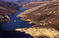 France. Lac de Castillon. Hydro-electric dam and reservoir. Barrage de Castillon-Demandolx. Alpes de Haute Provence..