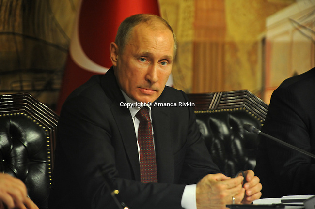 Russian President Vladimir Putin is seen at a joint press conference with Turkish Prime Minister Recep Tayyip Erdogan at the Turkish Prime Minister's office at Dolmabahce Palace in Istanbul, Turkey on December 3, 2012.