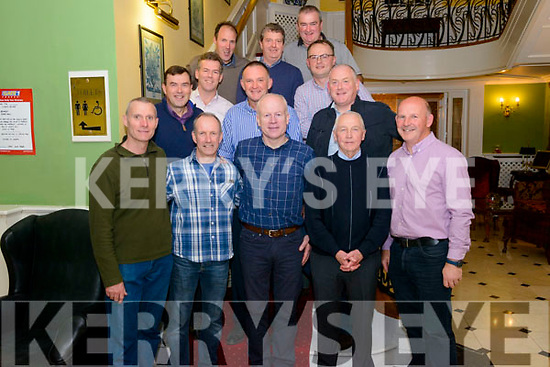 35 years reunion of Spa Glenflesk GAA team in the Dromhall Hotel, Killarney last Saturday night. Pictured front l-r Peter Spellman, Noel Kelleher, Connie Kelly, Roger Kelleher and Mike McAuliffe, back l-r PJ Doherty, Denis Cronin, Mike Casey, Brendan O'Brien, John Reen, Pat Doherty, Dermot Cronin and Sean Moynihan