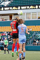 Rochester, NY - Friday July 01, 2016: Western New York Flash forward Lynn Williams (9), Chicago Red Stars defender Katie Naughton (5) during a regular season National Women's Soccer League (NWSL) match between the Western New York Flash and the Chicago Red Stars at Rochester Rhinos Stadium.