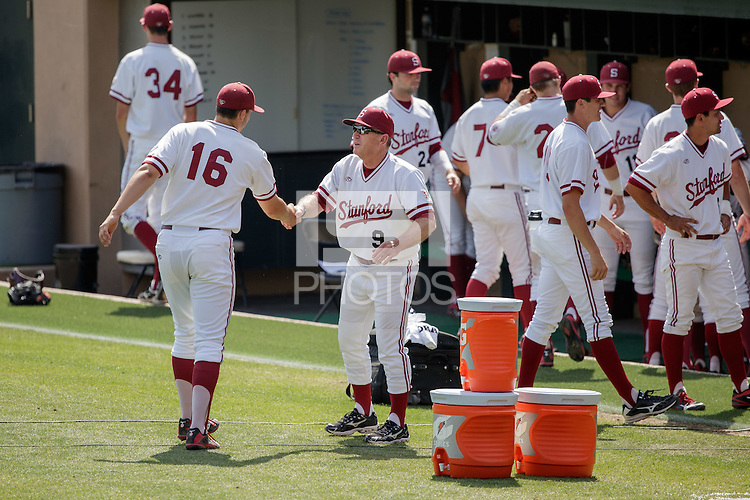 STANFORD, CA - May 28, 2016:  Stanford completes a sweep vs Oregon on Senior Day on Klein Field at Sunken Diamond. Stanford won 3-1.