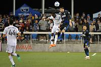 San Jose, CA - Saturday June 09, 2018: Adama Diomande, Jimmy Ockford during a Major League Soccer (MLS) match between the San Jose Earthquakes and Los Angeles Football Club at Avaya Stadium.