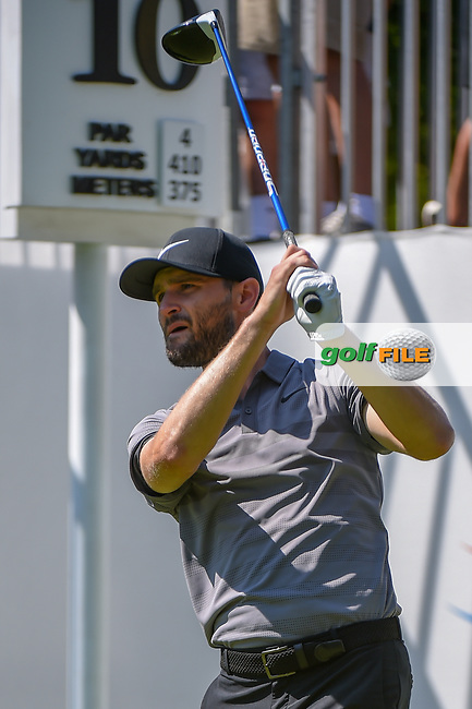 Kyle Stanley (USA) watches his tee shot on 10 during 3rd round of the World Golf Championships - Bridgestone Invitational, at the Firestone Country Club, Akron, Ohio. 8/4/2018.<br /> Picture: Golffile | Ken Murray<br /> <br /> <br /> All photo usage must carry mandatory copyright credit (© Golffile | Ken Murray)