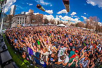 Giant joint balloons flying overhead, 420 Cannabis Culture Music Festival, Civic Center Park, Downtown Denver, Colorado USA. This was the first 4/20 celebration since recreational pot became legal in Colorado January 1, 2014. A crowd of up to 80,000 people attended the event.