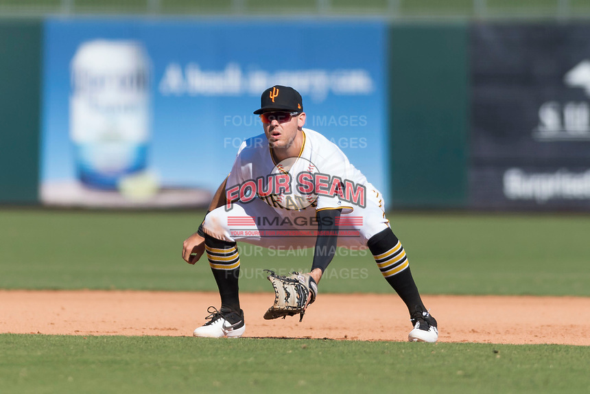 Surprise Saguaros first baseman Will Craig (45), of the Pittsburgh Pirates organization, during an Arizona Fall League game against the Peoria Javelinas at Surprise Stadium on October 17, 2018 in Surprise, Arizona. (Zachary Lucy/Four Seam Images)