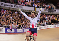 Picture by Alex Broadway/SWpix.com - 05/03/2016 - Cycling - 2016 UCI Track Cycling World Championships, Day 4 - Lee Valley VeloPark, London, England - Jason Kenny of Great Britain celebrates victory in the Men's Sprint Final.