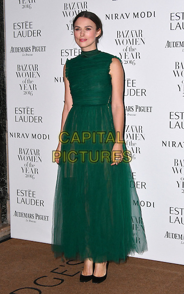 LONDON, ENGLAND - OCT 31: Keira Knightley at Harper's Bazaar annual Women of the Year Awards, which celebrates female high-fliers, at Claridge's on October 31st, 2016 in London, England.<br /> CAP/JOR<br /> &copy;JOR/Capital Pictures