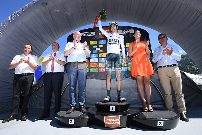 White jersey winner Emanuel Buchmann (GER) Bora-Hansgrohe on the podium at the end of Stage 8 of the Criterium du Dauphine 2017, running 115km from Albertville to Plateau de Solaison, France. 11th June 2017. <br /> Picture: ASO/A.Broadway | Cyclefile<br /> <br /> <br /> All photos usage must carry mandatory copyright credit (&copy; Cyclefile | ASO/A.Broadway)