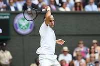 Roger Federer (SUI) during his match against Novak Djokovic (SRB) in their Gentleman's Singles Final match<br /> <br /> Photographer Rob Newell/CameraSport<br /> <br /> Wimbledon Lawn Tennis Championships - Day 13 - Sunday 14th July 2019 -  All England Lawn Tennis and Croquet Club - Wimbledon - London - England<br /> <br /> World Copyright © 2019 CameraSport. All rights reserved. 43 Linden Ave. Countesthorpe. Leicester. England. LE8 5PG - Tel: +44 (0) 116 277 4147 - admin@camerasport.com - www.camerasport.com