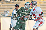Redondo Beach, CA 05/11/10 - Marcus Egeck (MC # 9) and Tyler Cobb (PV # 9) in action during the 2010 Los Angeles Boys Lacrosse championship game, Mira Costa defeated Palos Verdes 12-10 at Redondo Union High School.