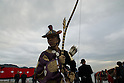 Nov 21 2010- Zushi, Japan- A Yabusame horse-back archery waits at the end of a ceremony held at Zushi beach.