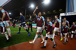 The players making their way onto the pitch before Burnley (in claret) hosted Everton in an English Premier League fixture at Turf Moor. Founded in 1882, Burnley played their first match at the ground on 17 February 1883 and it has been their home ever since. The visitors won the match 5-1, watched by a crowd of 21,484.