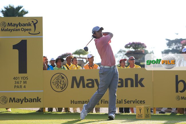 Gavin Green (AM) on the 1st tee during Round 3 of the Maybank Malaysian Open at the Kuala Lumpur Golf &amp; Country Club on Saturday 7th February 2015.<br /> Picture:  Thos Caffrey / www.golffile.ie