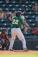 Joe Tuschak (22) of the Savannah Sand Gnats at bat against the Hickory Crawdads at L.P. Frans Stadium on June 14, 2015 in Hickory, North Carolina.  The Crawdads defeated the Sand Gnats 8-1.  (Brian Westerholt/Four Seam Images)