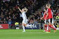 Isobel Christiansen (Manchester City) of England Women celebrates after she scores her team's third goal of the game to make the score 3-0 during the Women's Friendly match between England Women and Austria Women at stadium:mk, Milton Keynes, England on 10 April 2017. Photo by PRiME Media Images / David Horn.
